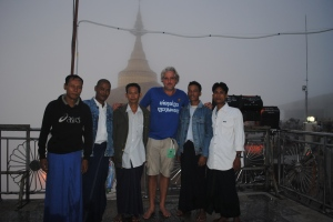 At Golden Rock with new Burmese friends